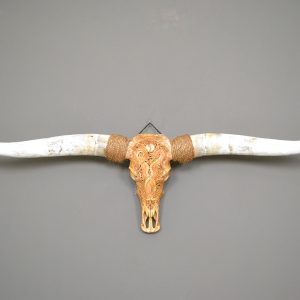 Longhorn schedel XL gegraveerd bruin 02